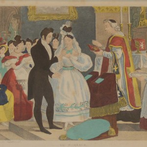 A vintage French art print, colour intaglio done by Mourlot in 1944 after the original print from circa 1835 titled Le Marriage.