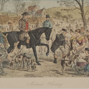 Original 1854 hand coloured antique sporting print, a steel engraving by John Leech titled, Michael Hardey.