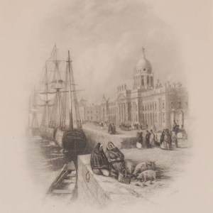 Antique print a steel engraving of the Custom House, Dublin, Ireland. The engraving is after a drawing by Thomas Creswick and was engraved by H Griffith.