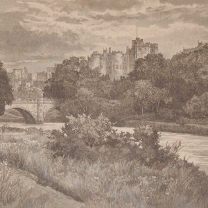 An antique engraving, Alnwick Castle from the park, this antique print was published in 1892 by Cassell and Company as part of a larger work on historic houses in the UK.