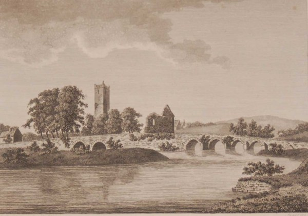 1797 Antique Print a copper plate engraving of the Abbey at Adare, Limerick, Ireland. The abbey is said to have been founded circa 1272. On the print Adare is called Adaire.