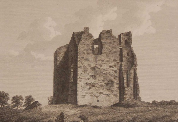 1797 Antique Print a copper plate engraving of Asigh Castle, County Meath, Ireland.