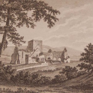 1797 Antique Print a copper plate engraving of Black or Whare Abbey County Tipperary, Ireland.