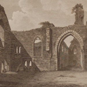 1797 Antique Print a copper plate engraving of Strade Abbey County Mayo, Ireland. The engraving was done by James Newton.