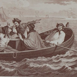 An antique print an engraving after William Hogarth titled Industry and Idleness Plate 5. The Industrious Prentice Turn'd away and sent to sea.