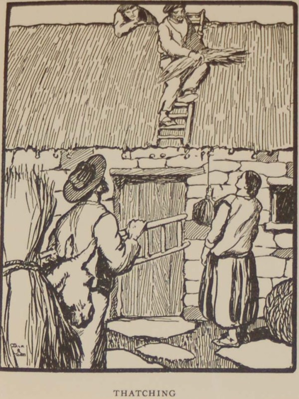 An Antique Jack B Yeats Print for Sale, Thatching, a Jack B Yeats print from 1911 that has been mounted