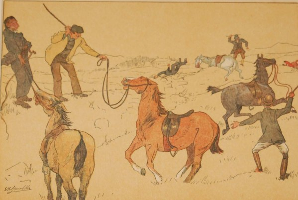 """Beautiful antique sporting print , a chromolithograph, published in 1902, after Edith Somerville, titled """"Great Banks There was a Bellow in the Fields""""."""
