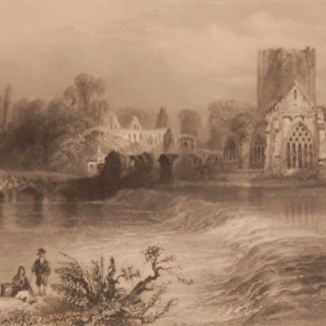 1841 Antique Steel engraving of Holycross Abbey from the Suir in Tipperary. The print was engraved by J C Bentley and is after a drawing by William Bartlett.