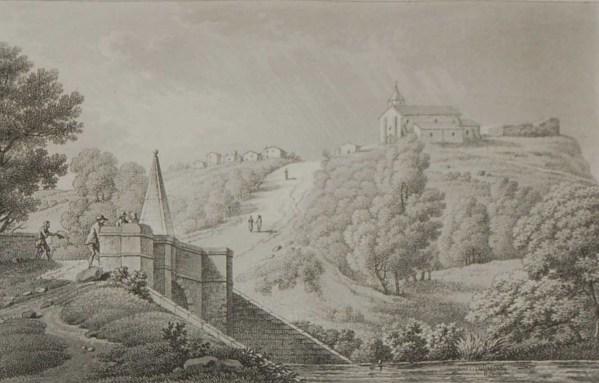 aquatint from 1817 by the famous Austrian engraver Benedict Piringer, titled, Vue du pont Cacault et du Bourg du pallet, pres Clisson.
