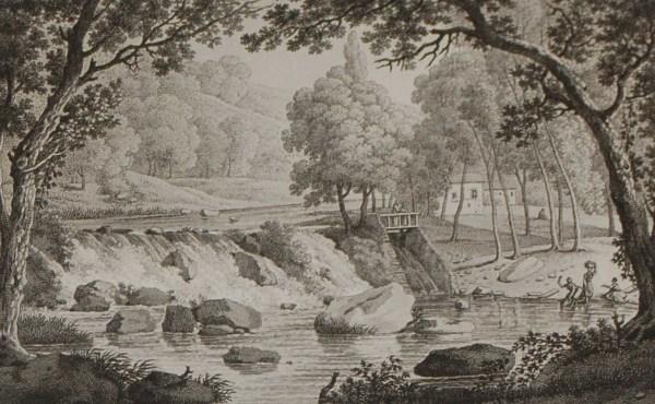Aquatint from 1817 by the famous Austrian engraver Benedict Piringer, titled, Vue de la Cascade de la partie de la Riviere de Sévre, appelée le Bassin de Daine, dans le Bois de la Garenne á Clisson