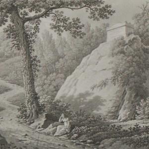 Aquatint from 1817 by the famous Austrian engraver Benedict Piringer, titled, Vue d'un Tombeau, dans le Bois de la Garenne á Clisson
