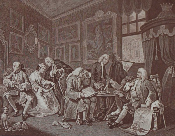 Antique print an engraving after William Hogarth . The engraving is titled Marriage a la Mode The Contract .