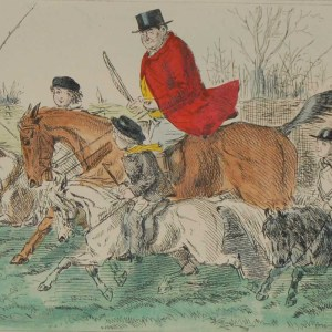 1898 antique hand coloured steel engraving after John Leech titled The Jug and the Juvenile Field