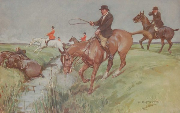 Vintage 1935 colour print by G D Armour ( George Denholm Armour 1864 to 1949), the print is titled Plate XIV- Encouragement