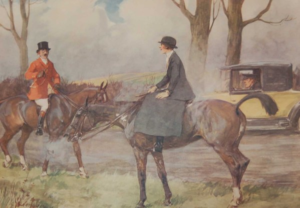 Vintage 1935 colour print by G D Armour ( George Denholm Armour 1864 to 1949), the print is titled Plate XV- Speed Trials
