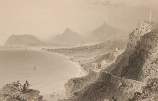 1841 Antique Steel engraving of Killiney Bay, Dublin, Ireland. The print, engraved by R Wallis & is after a drawing by William Bartlett.