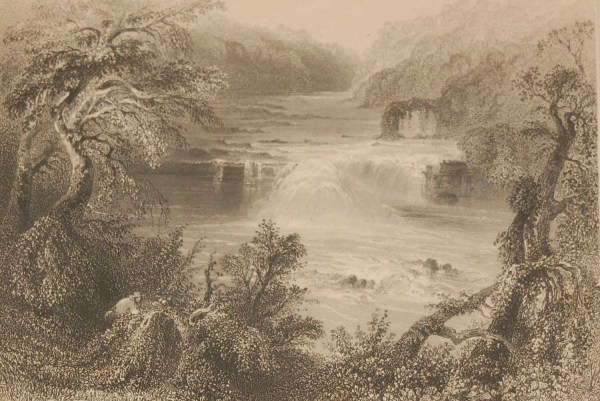 1841 Antique Steel engraving of the Salmon Leap, Leixlip, Ireland. The print was engraved by S R Richardson and is after a drawing by William Bartlett.