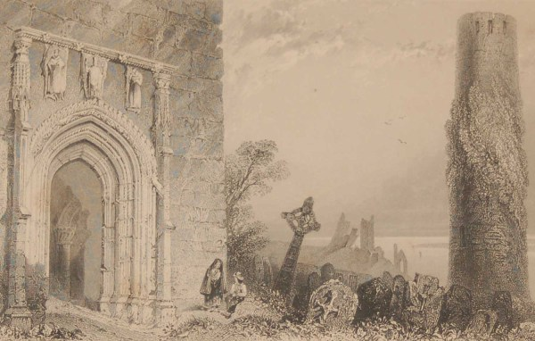 1841 Antique Steel engraving of the Entrance Doorway Temple McDurmott, Clonmacnoise, Offally , Ireland. The print was engraved by Robert Brandard and is after a drawing by William Bartlett.