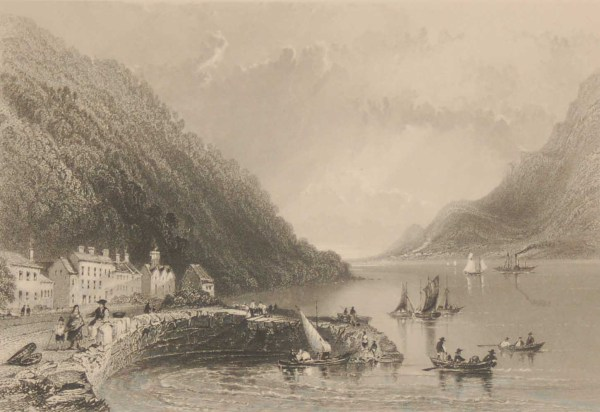 1841 Antique Steel engraving of Ross Trevor Pier, County Down, Ireland. The print was engraved by Robert Brandard & is after a drawing by William Bartlett.