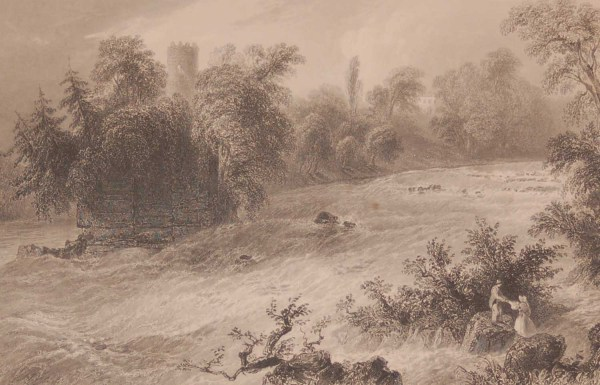 1841 Antique Steel engraving of Donnals Rapids Near ,Castleconnell, Limerick , Ireland. The print was engraved by John Cousen.