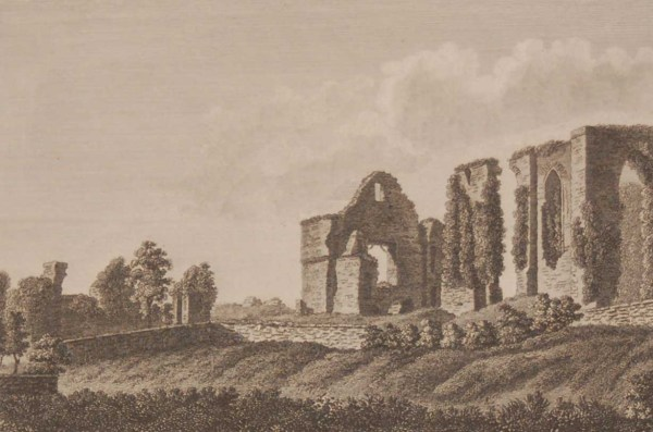 1797 antique print a copper plate engraving of Newtown Abbey in County Meath, Ireland.