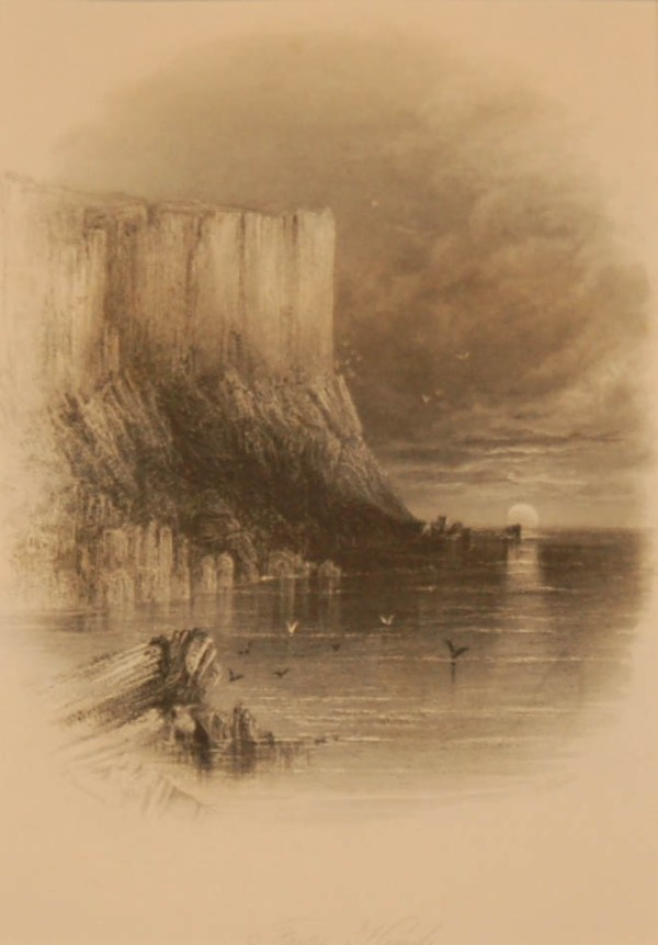 1838 Antique print a steel engraving of Fair Head in County Antrim. Dunluce Castle is also known as a location from Game of Thrones.