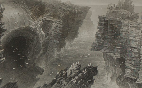 1860 engraving by F W Topham after a painting by William Bartlett of the Puffing Hole near Kilkee.
