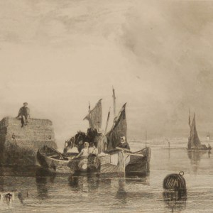 Antique print, Victorian, an engraving published in 1840 after a painting by Austin Pinx titled The Market Boat. The work was engraved by Grundy.