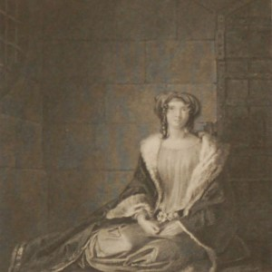 Antique print, an engraving published in 1840 after C R Leslie's painting Rebeca. The work was engraved by Charles Heath.