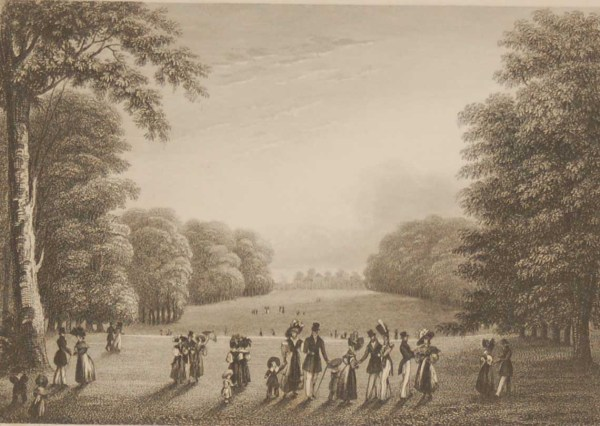 Antique print, Victorian, an engraving published in 1840 after a painting by J Sargeant titled The Palace from the Fashionable Walk. The work was engraved by J Rogers.
