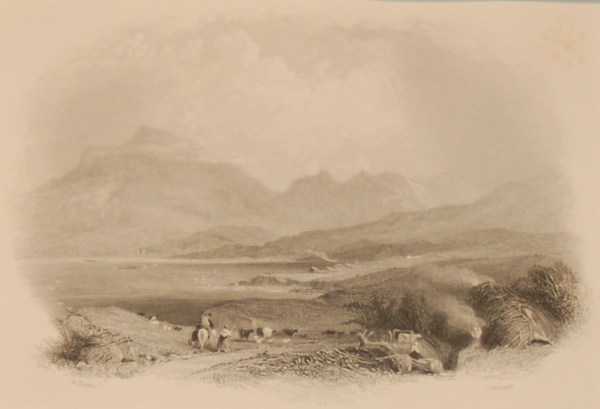 1850 antique print a steel engraving of the Killeries in County Galway. The print was engraved by J Hinchcliff and is after a drawing by W Evans.