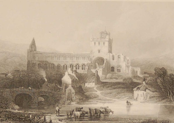 Jedburgh Abbey Roxburgshire, antique print, Victorian an engraving from circa 1880 after the original painting by David Roberts.