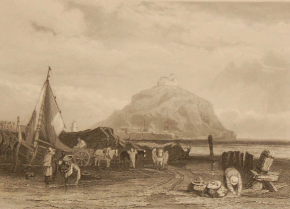 St Michael's Mount, Cornwall, antique print, an engraving from circa 1880 after the original painting by Clarkson Stanfield.