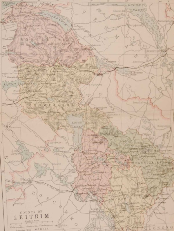 1881 Antique Colour Map of The County of Leitrim printed by George Philips, with the map constructed by John Bartholomew and edited by P. W. Joyce.