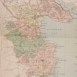 1881 Antique Colour Map of The County of Louth printed by George Philips, with the map constructed by John Bartholomew and edited by P. W. Joyce.