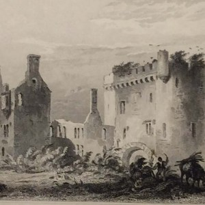 Antique print from 1832 of Castle Howel, Barony of Kells, County Kilkenny, Ireland. The print was engraved by R Hoards and is after a drawing by Austin.