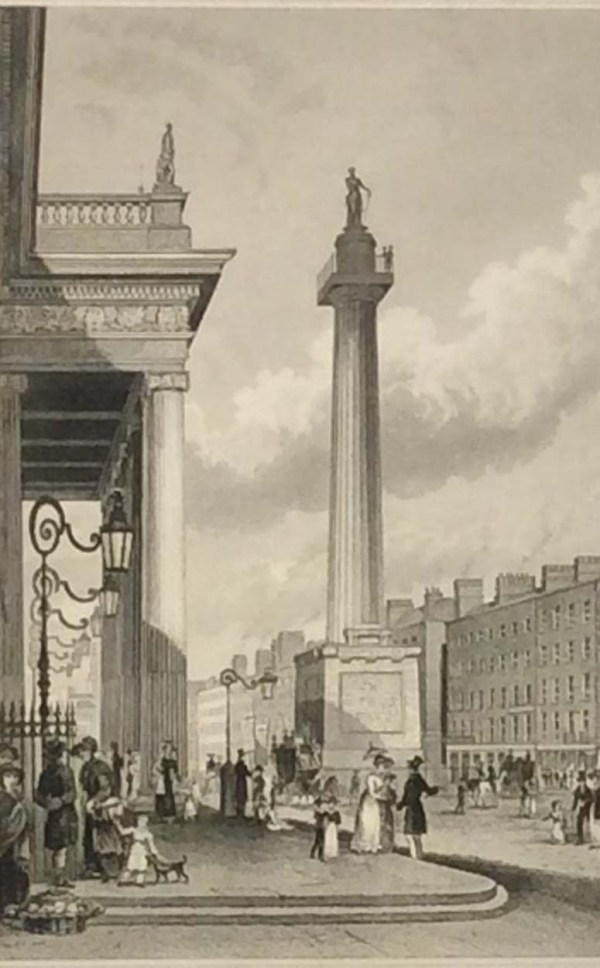 Antique print from 1832 of Nelson's Pillar Sackville Street (now O'Connell Street) in Dublin, Ireland. The print was engraved by Henry Winkles and is after a drawing by George Petrie.
