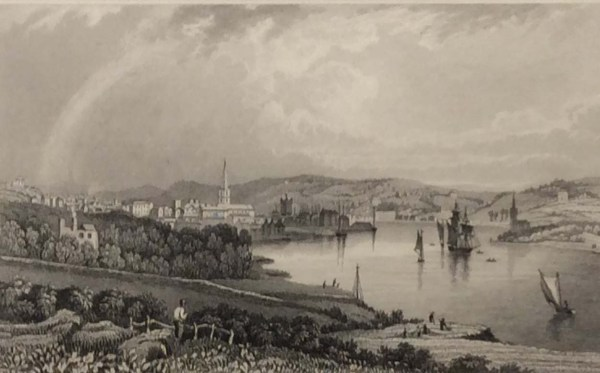 Antique print from 1832 of the City of Waterford from the Dunmore Road. The print was engraved by William Taylor and is after a drawing by William Bartlett.