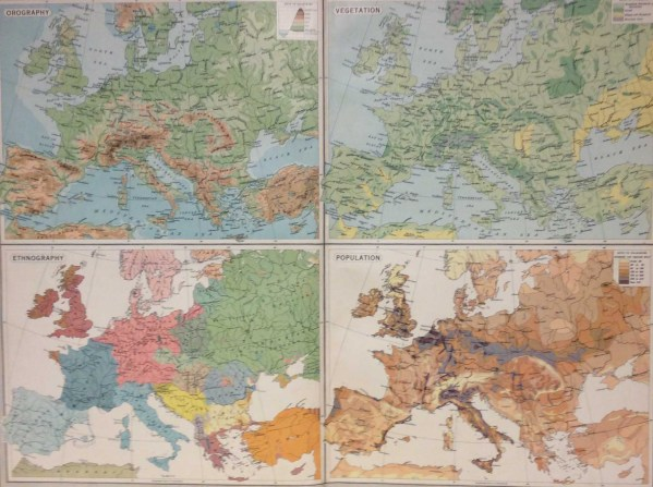 Large vintage map from 1922 titled Europe Physical Features Population . The map is broken into four smaller maps each showing different topics Orography, Vegetation, Ethnography and Population.