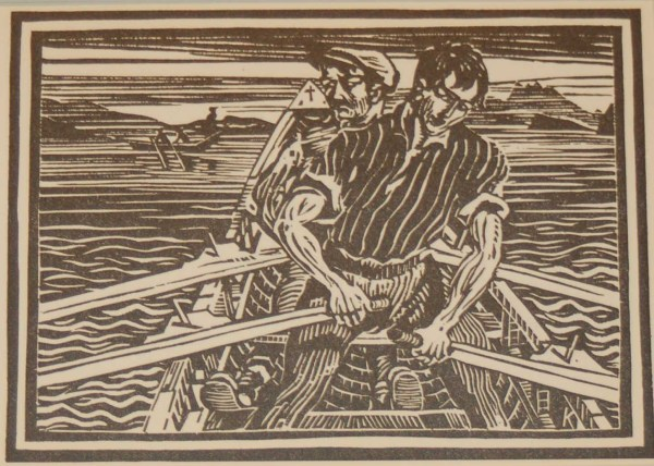 Harry Kernoff Woodcut Rowing a Curragh Connemara ,1948 Woodcut by Harry Kernoff framed.