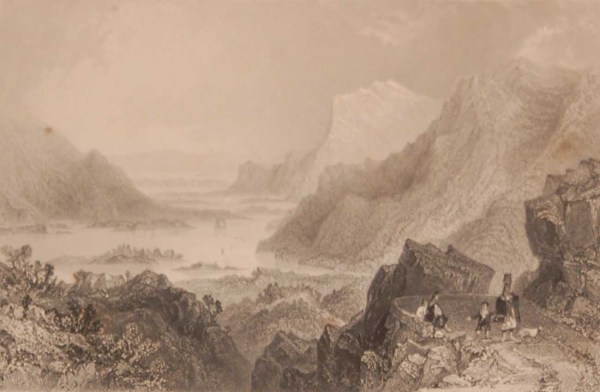 1841 Antique print a steel engraving of the Approach to Killarney from the Kenmare Road, County Kerry, Ireland . The print was engraved by R Brandard and is after a drawing by William Bartlett.