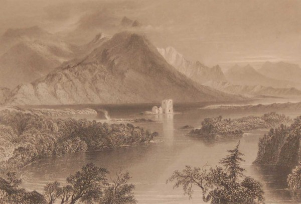 1841 Antique print a steel engraving of Ballynahinch, Connemara, Galway, Ireland . The print was engraved by R Wallis and is after a drawing by William Bartlett.