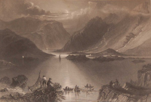 1841 Antique print a steel engraving of the Head of the Killeries Connemara, Ireland . The print was engraved by J T Willmore and is after a drawing by William Bartlett.