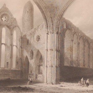 1841 Antique print a steel engraving of the Interior of Cashel Abbey, County Tipperary, Ireland . The print was engraved by E J Roberts and is after a drawing by William Bartlett.