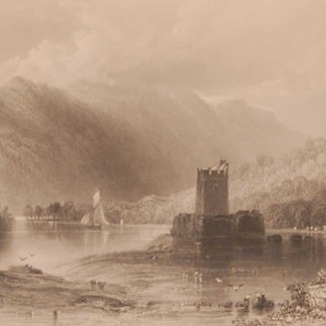1841 Antique print a steel engraving of Narrow Water Castle, County Down, Ireland, engraved by C Cousen and is after a drawing by William Bartlett.