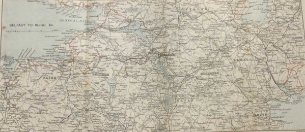 Antique map of Belfast to Sligo from 1887. Map shows counties Down, Armagh, Louth, Monaghan, Tyrone, Leitrim, Cavan also.