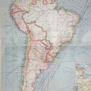 Antique Map from 1907 titles South America Industries and Communications. The map outlines the countries in colour giving an insight into commerce at that time.
