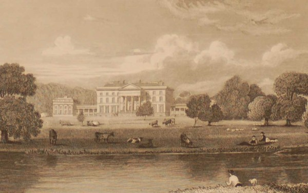 Attingham Hall Shropshire, antique print, an engraving from the late Georgian period, published in 1829.