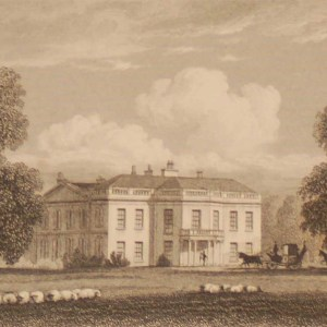 Cokethrope Park Oxfordshire, antique print, an engraving from the late Georgian period. The original drawing was done by J P Neale.