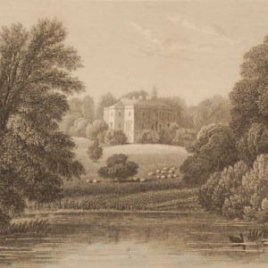 Nuneham Courtenay Oxfordshire, antique print, an engraving from the late Georgian period. The original drawing was done by J P Neale.